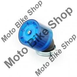 Filtru aer sport cu protectie albastra plastic-d.38mm/cot 45 grade